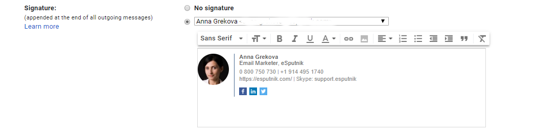 Copy and add your custom email signature to Gmail.