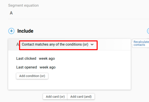 Contact matches any of the conditions