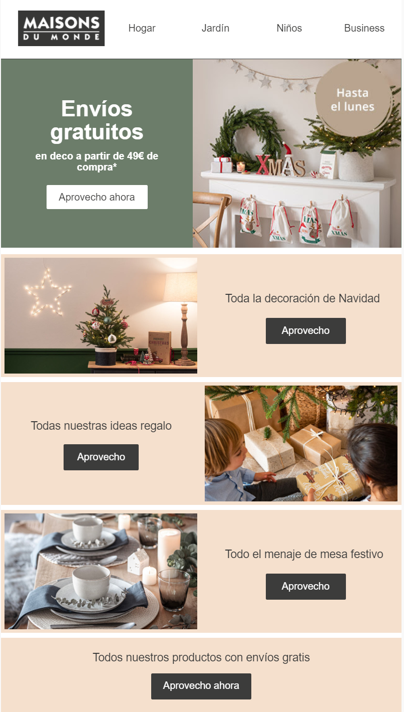 Christmas email in Spanish