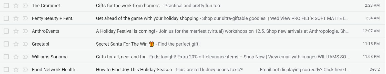 Holiday subject lines