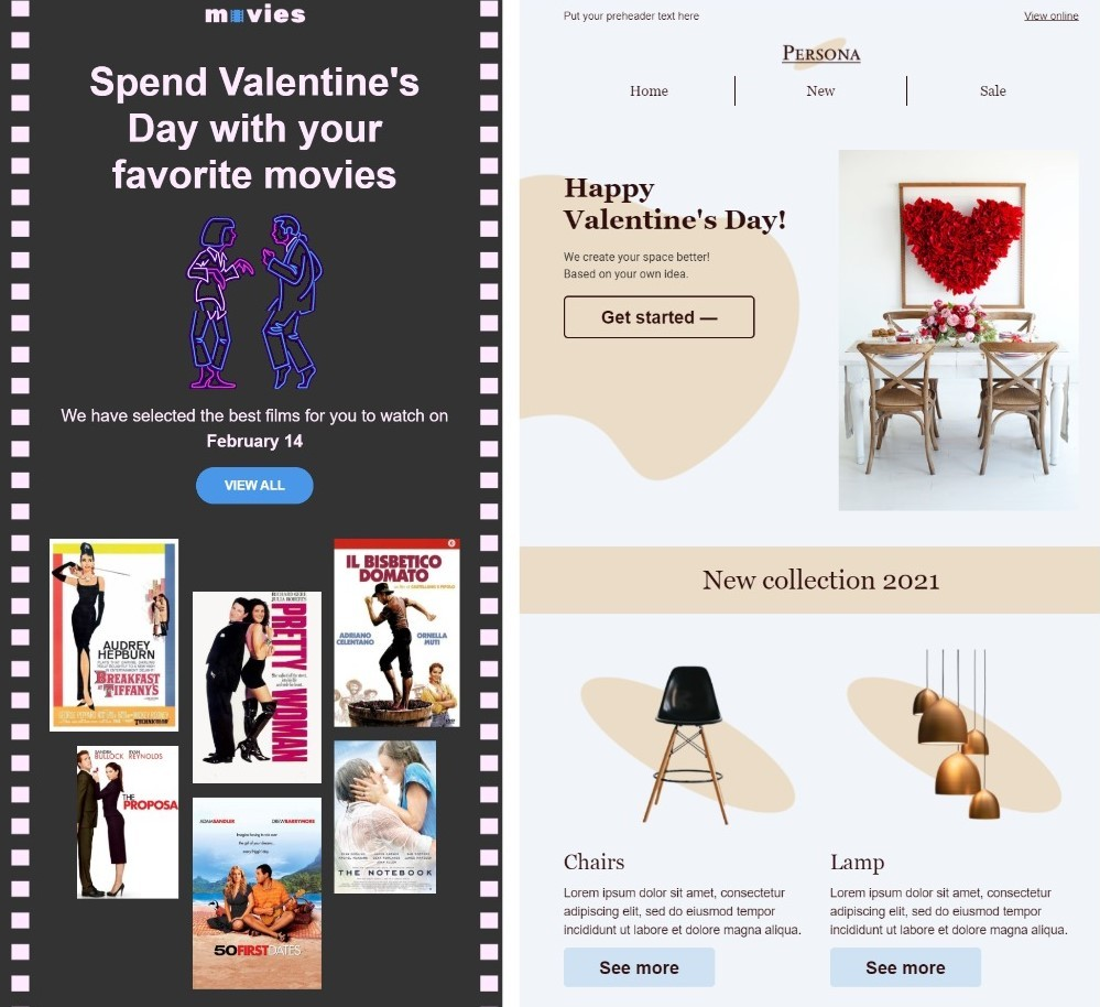 Valentine's Day email templates in eSputnik editor