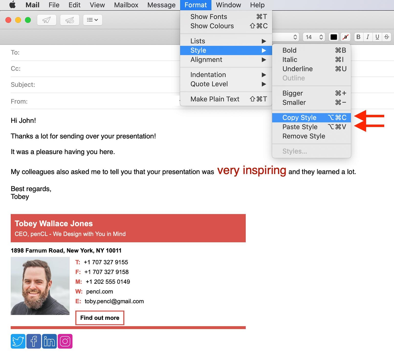 Copy and paste text styles in Apple Mail