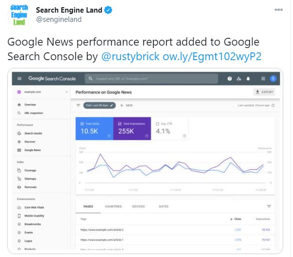 Search Engine Land's tweet