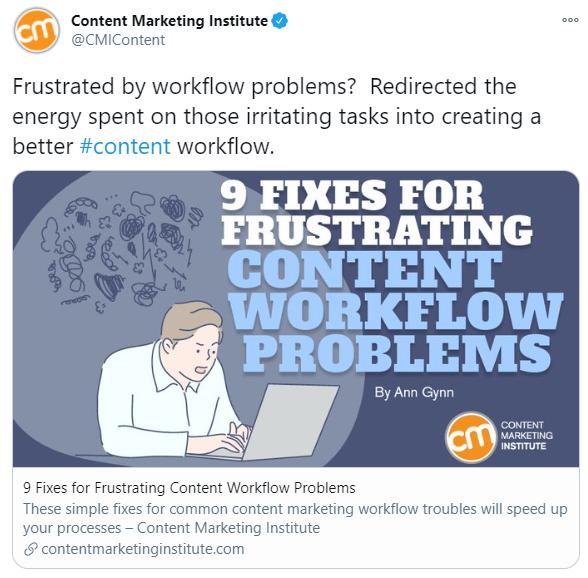 Content Marketing Institute's tweet