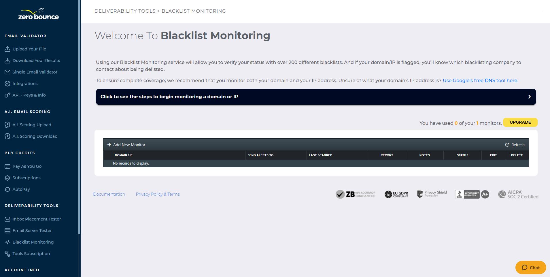 ZeroBounce Blacklist Monitoring Tool
