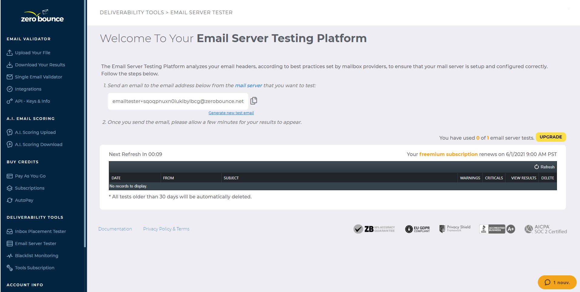 ZeroBounce Email Tester