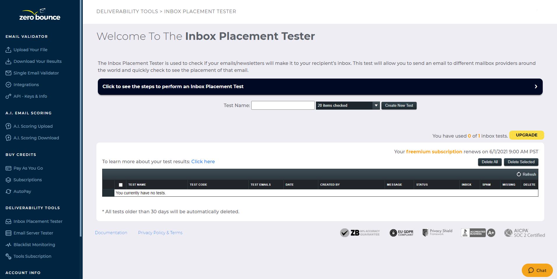 ZeroBounce Inbox Placement Tester