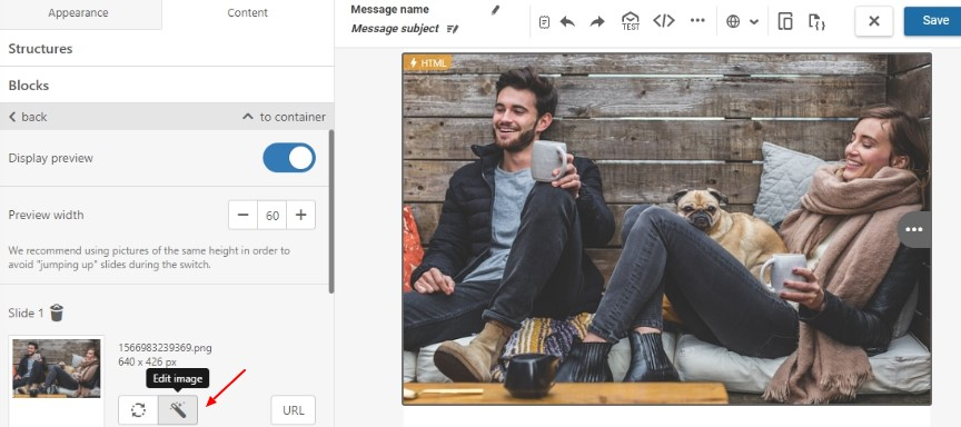 Edit carousel images in the built-in photo editor