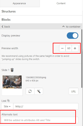 How to set the preview width and add alternate text