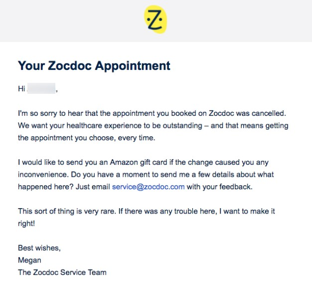 Apology email by Zocdoc