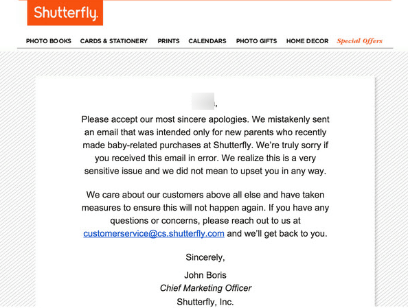 Apology email by Shutterfly
