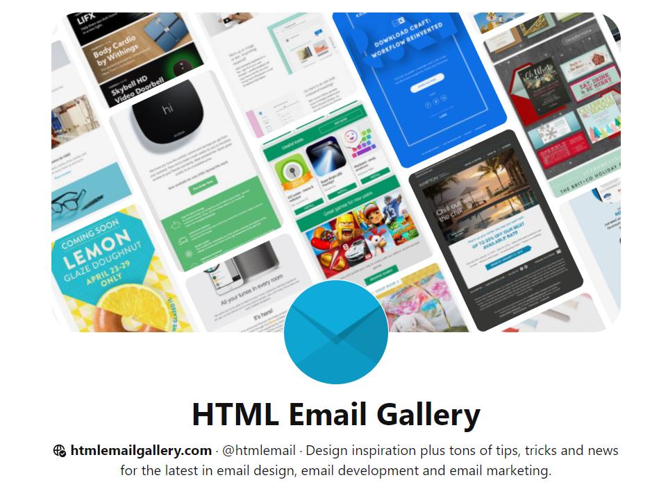 HTML Gallery Pinterest хитрости по составлению писем, тренды емейл-маркетинга