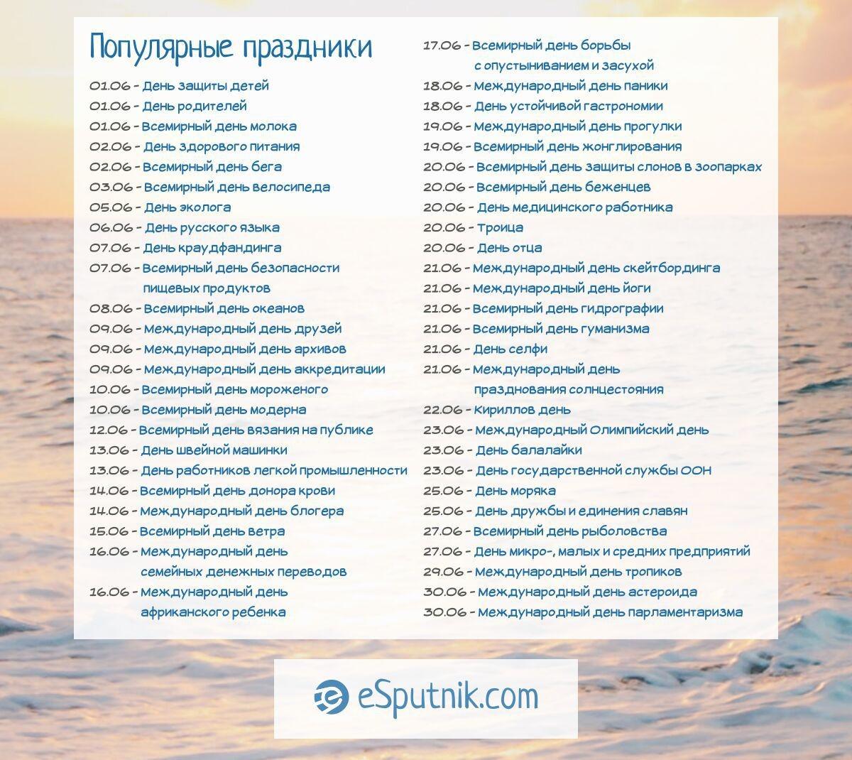 Популярные праздники июня 2021