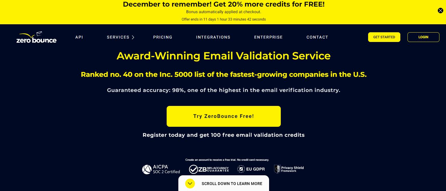 Проверка email адресов в ZeroBounce