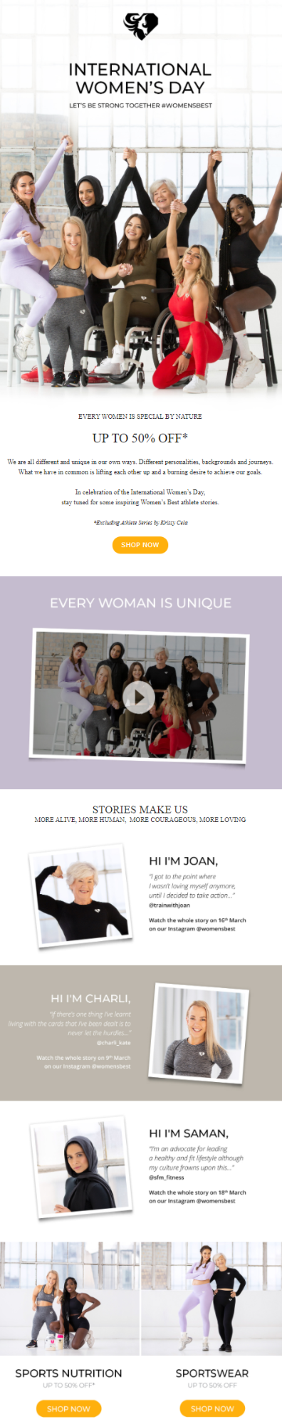 Women's Day email by Women's Best