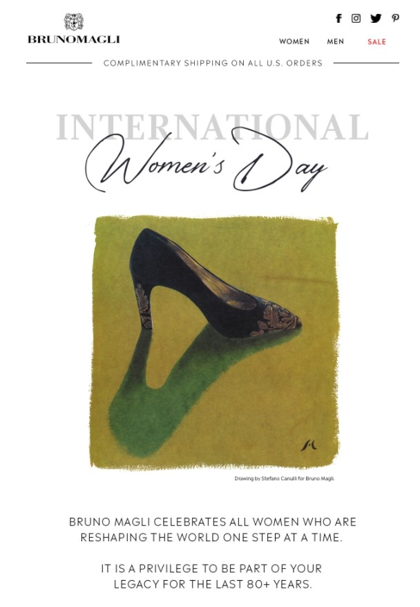 International Women's Day email by Bruno Magli