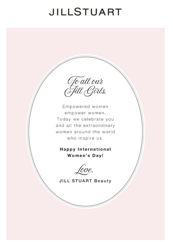 Women's Day email by Jill Stuart