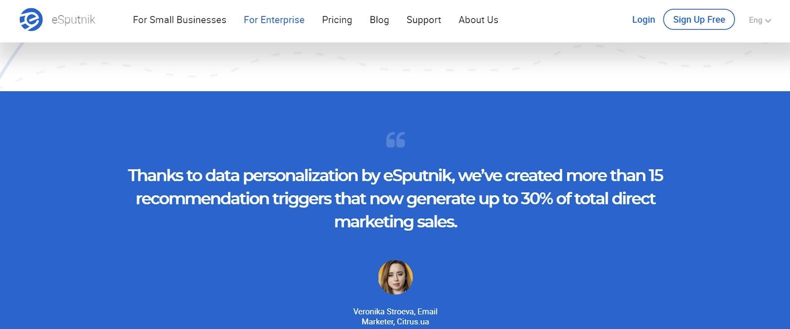 Landing page example by eSputnik