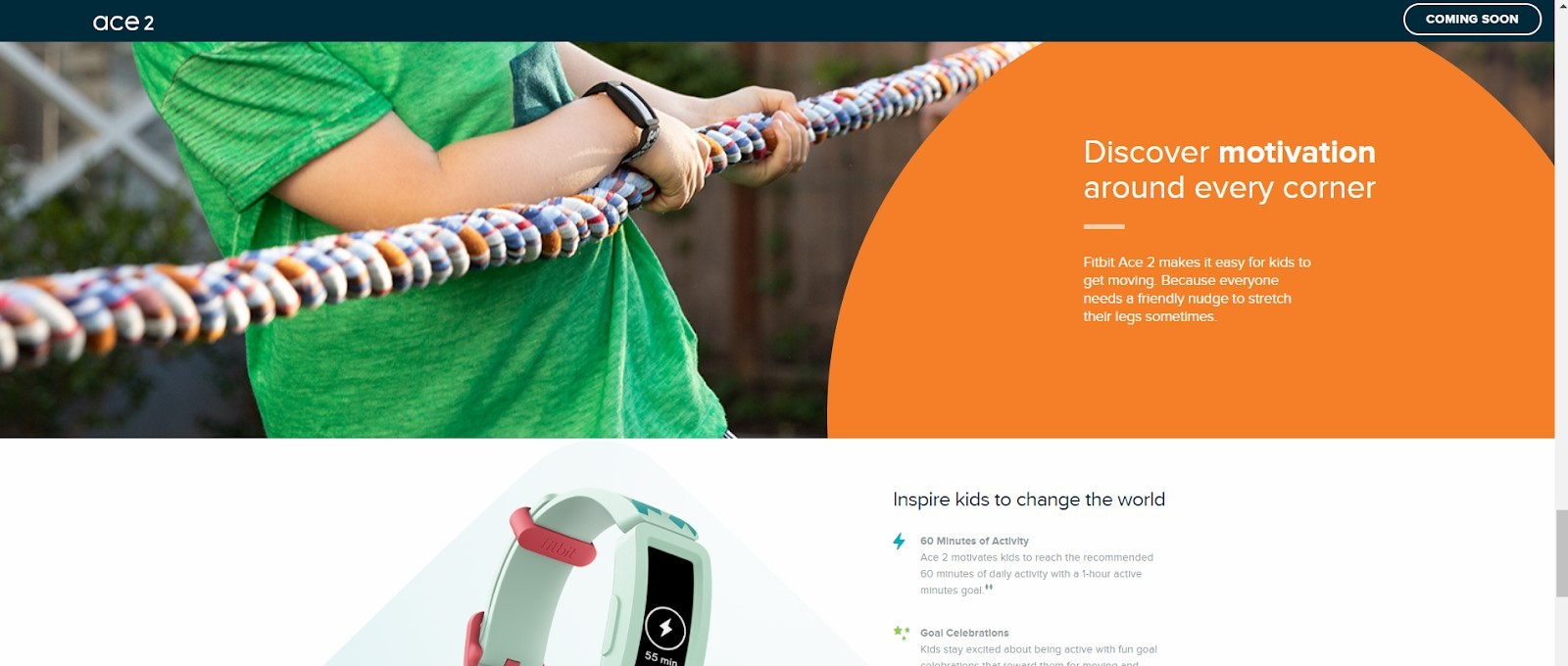 Landing page example by Fitbit