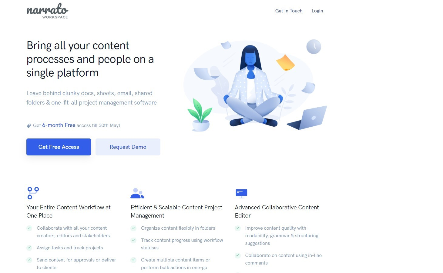 Landing page example by Narrato