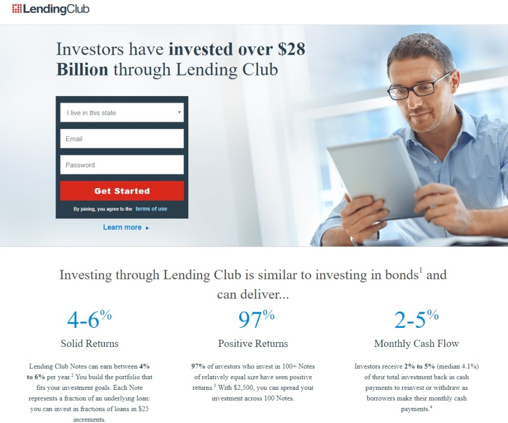 Landing page example by LendingClub