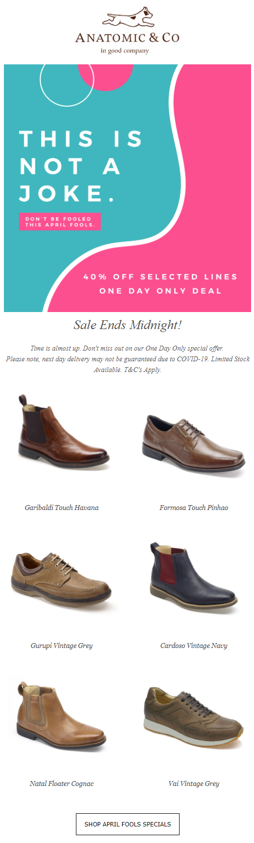 April Fool's Day email campaign