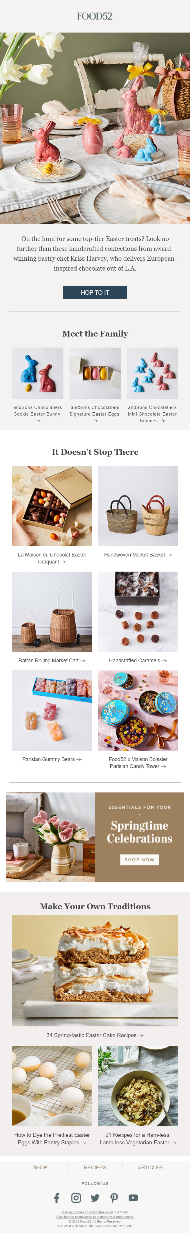 Easter email campaign by Food 52