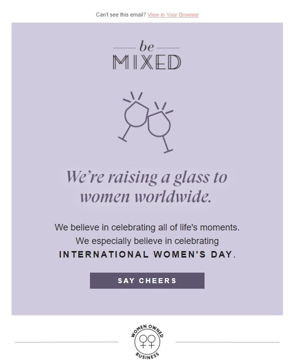 Women's Day email  example