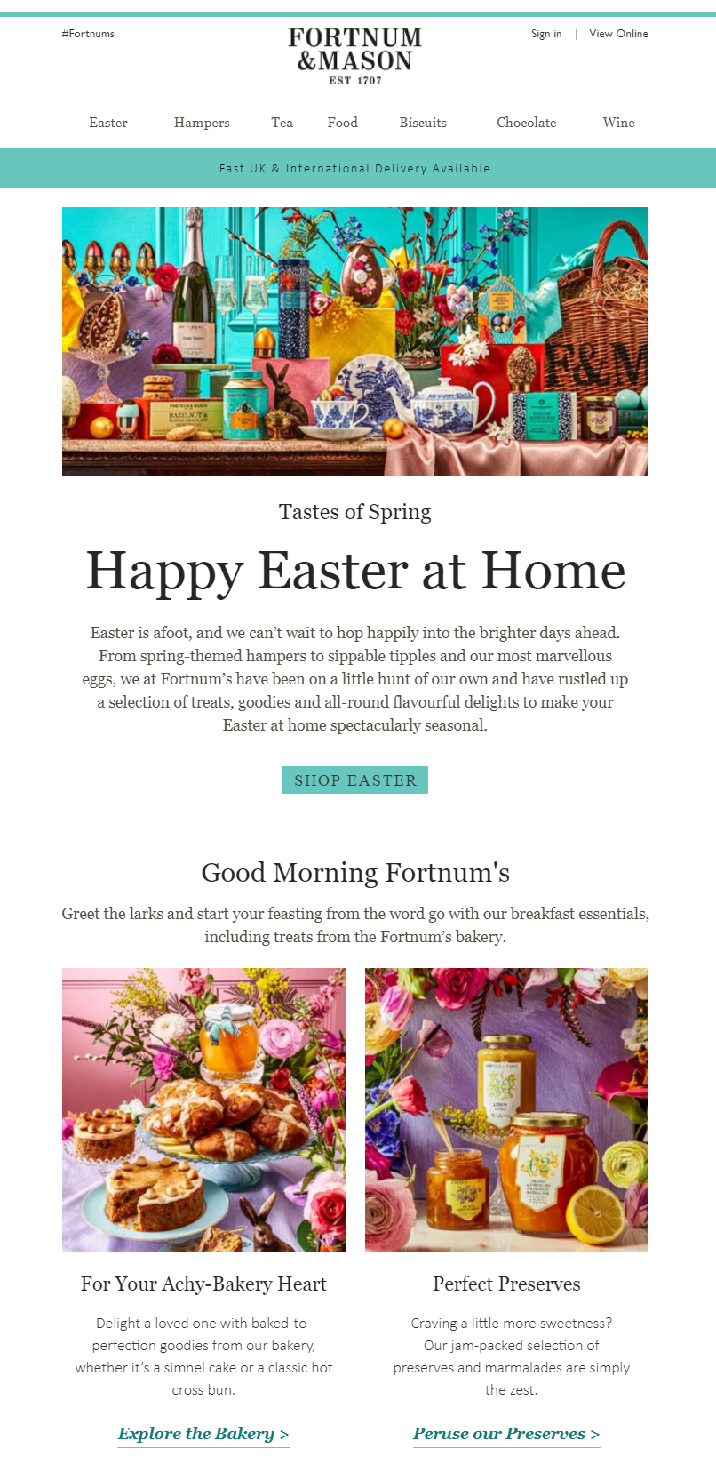 Easter email campaign by Fortnum & Mason