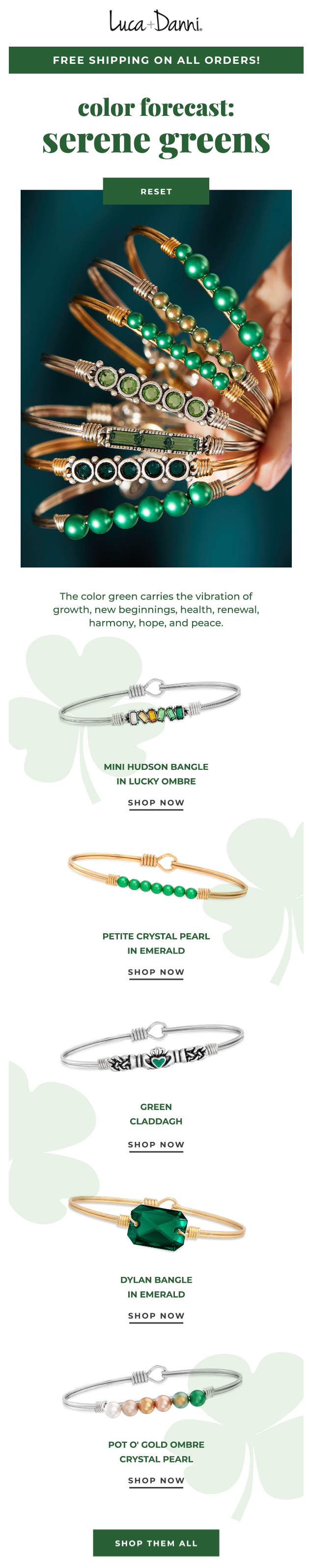 St. Patrick's Day email example by Luca+Danni