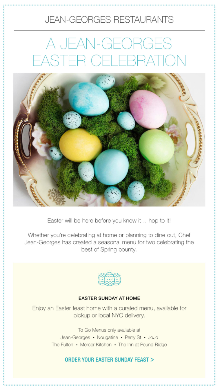 Easter email campaign by Jean-Georges Restaurants
