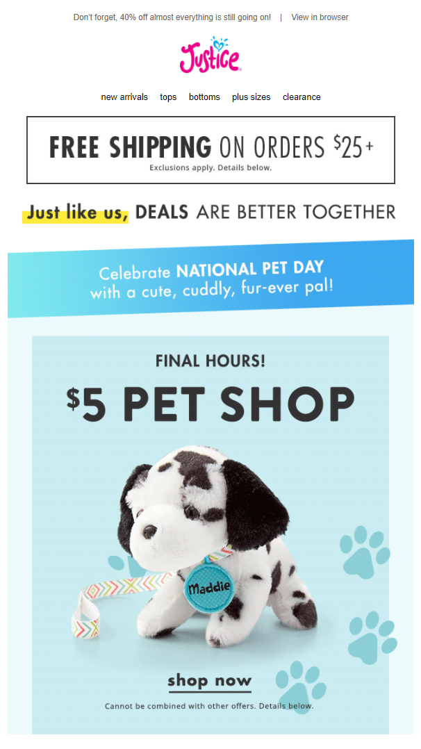Pet Day email example