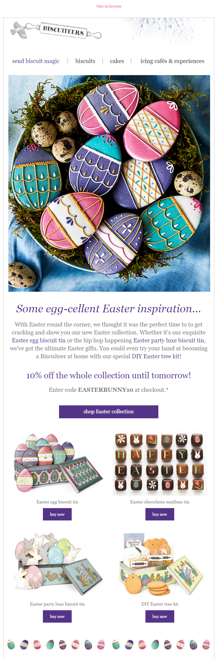 Easter email campaign by Biscuiteers