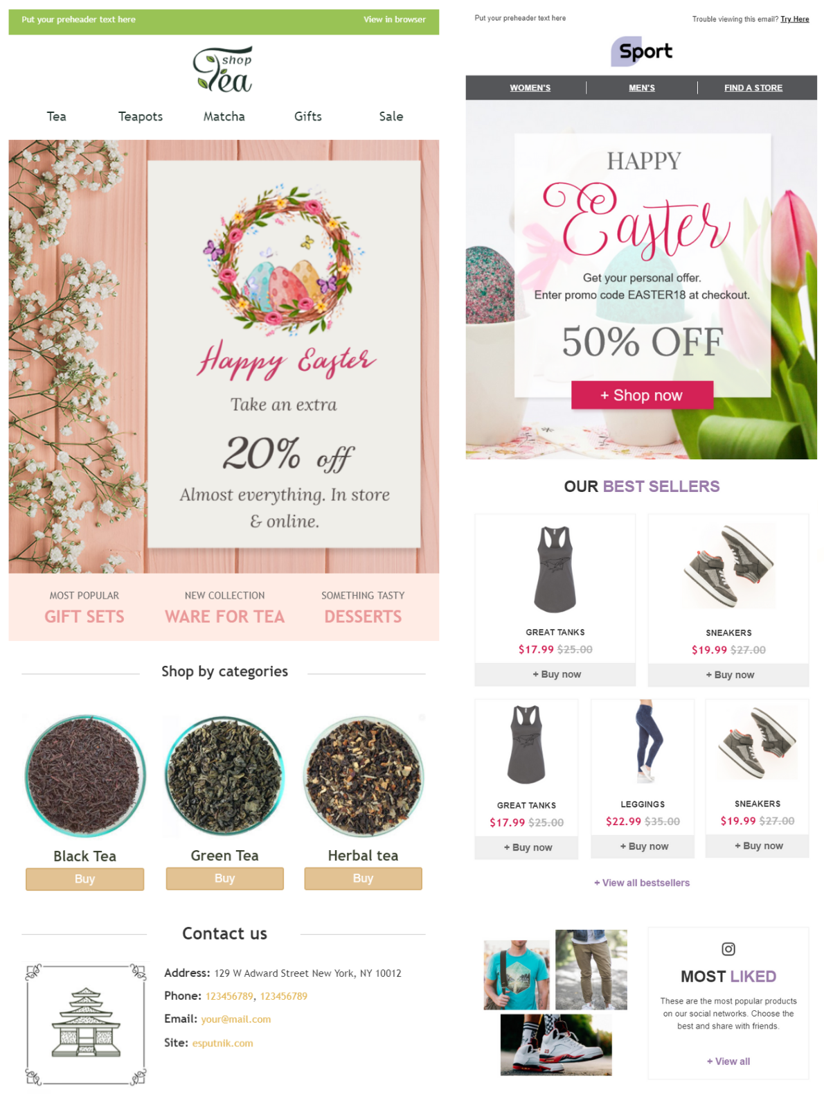 Email template examples