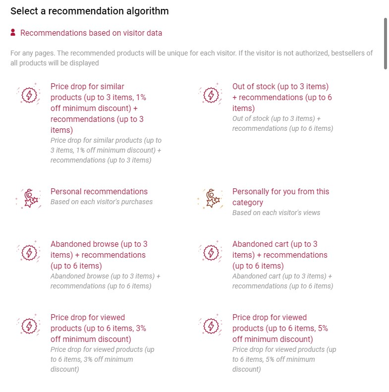 Recommendation algorithms