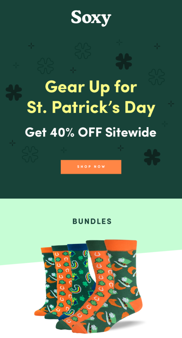 St. Patrick's Day email example by Soxy