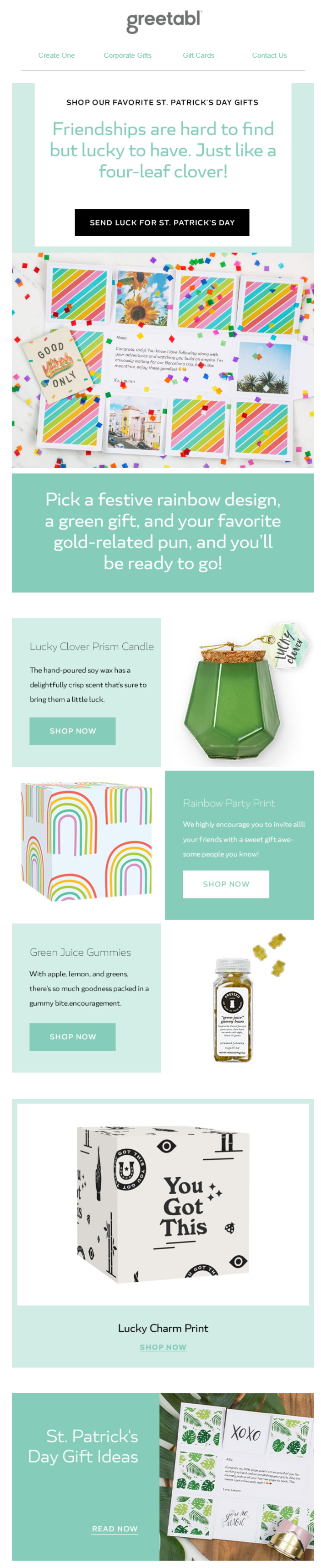 St. Patrick's Day email example by Greetabl