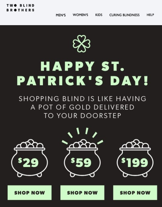 St. Patrick's Day email example by Two Blind Brothers