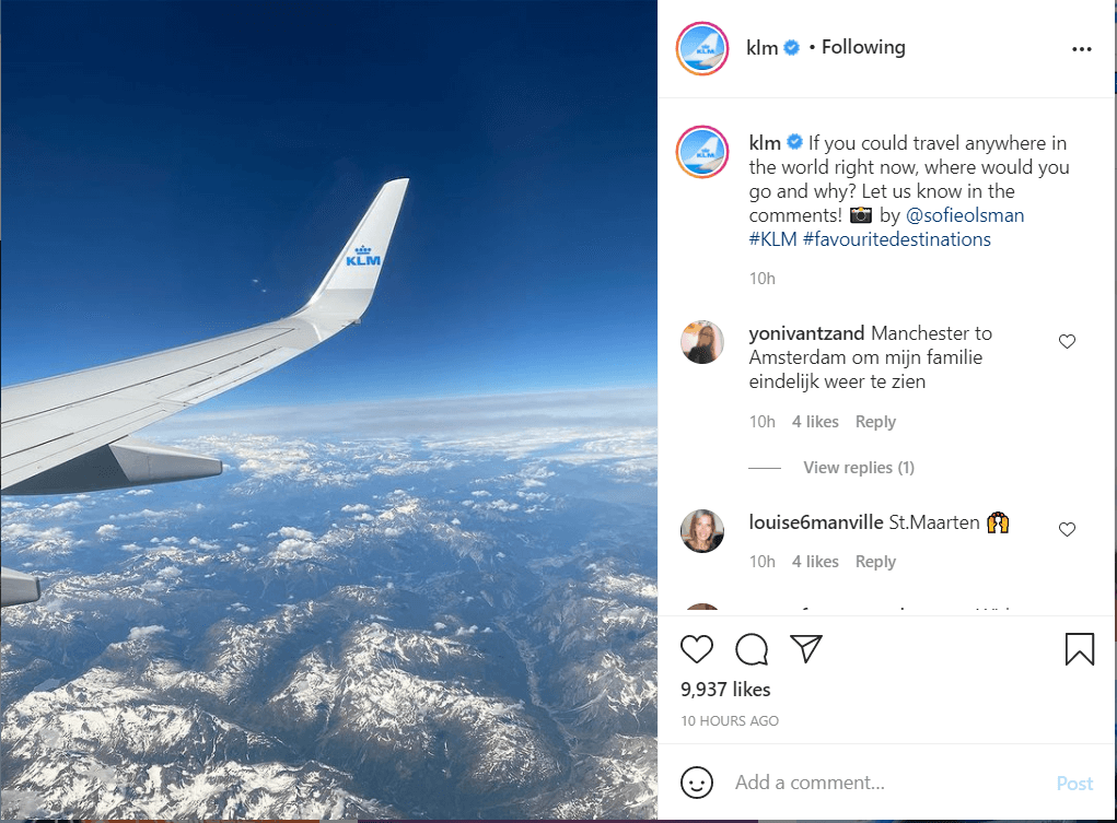Source: KLM Instagram