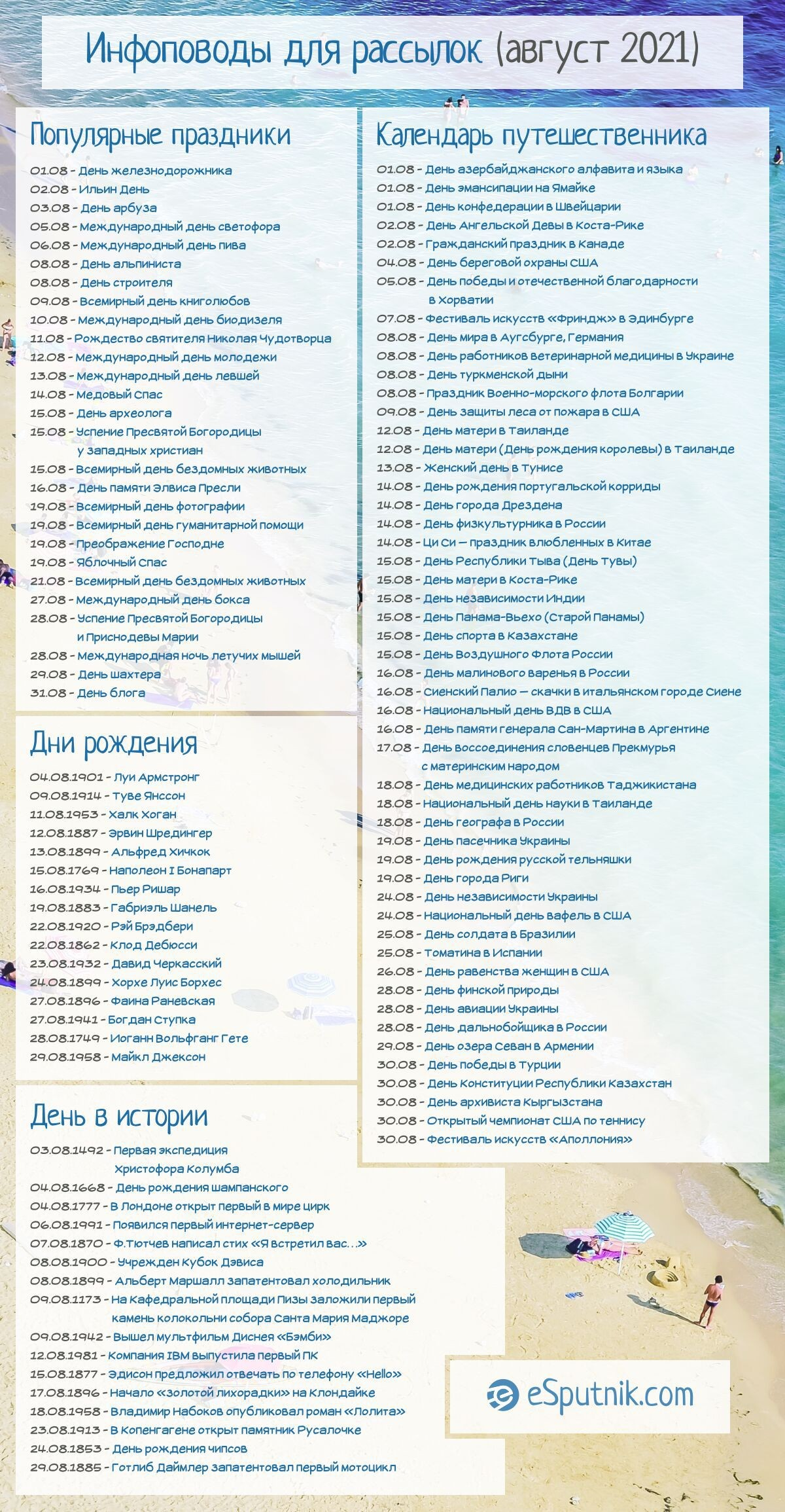 Календарь инфоповодов на август 2021