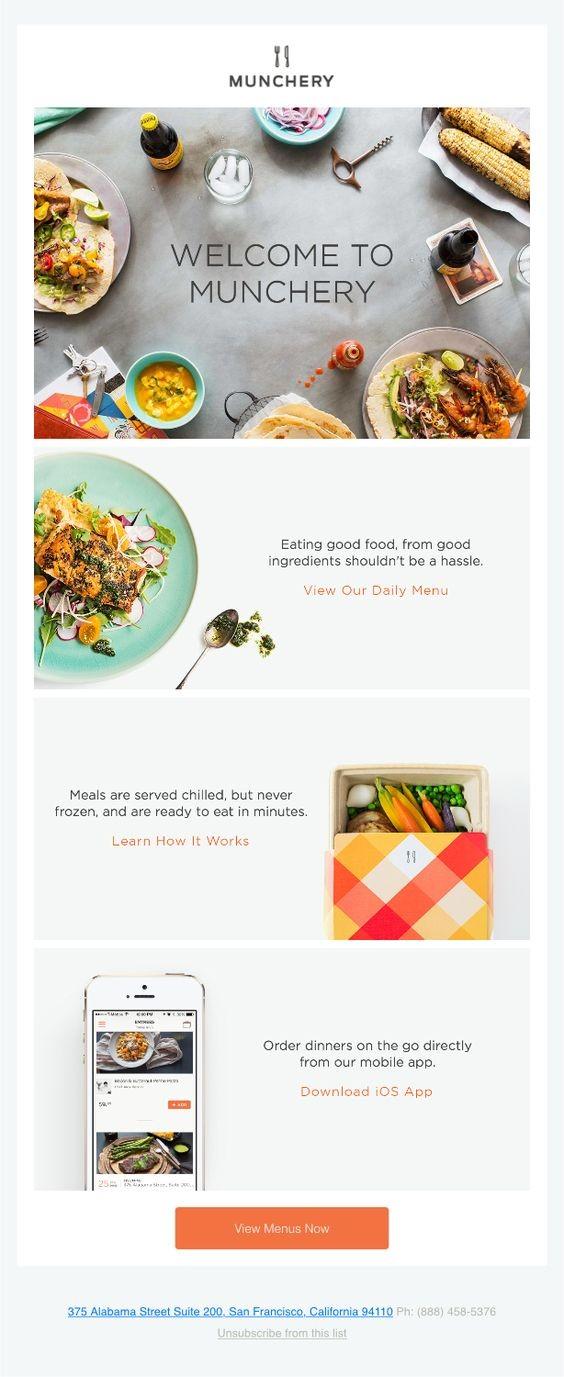 Как обыграны фото еды в приветственной рассылке