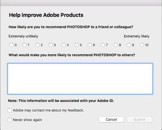 Survey sample in Photoshop