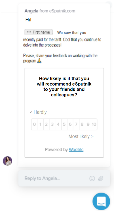 eSputnik's NPS sample