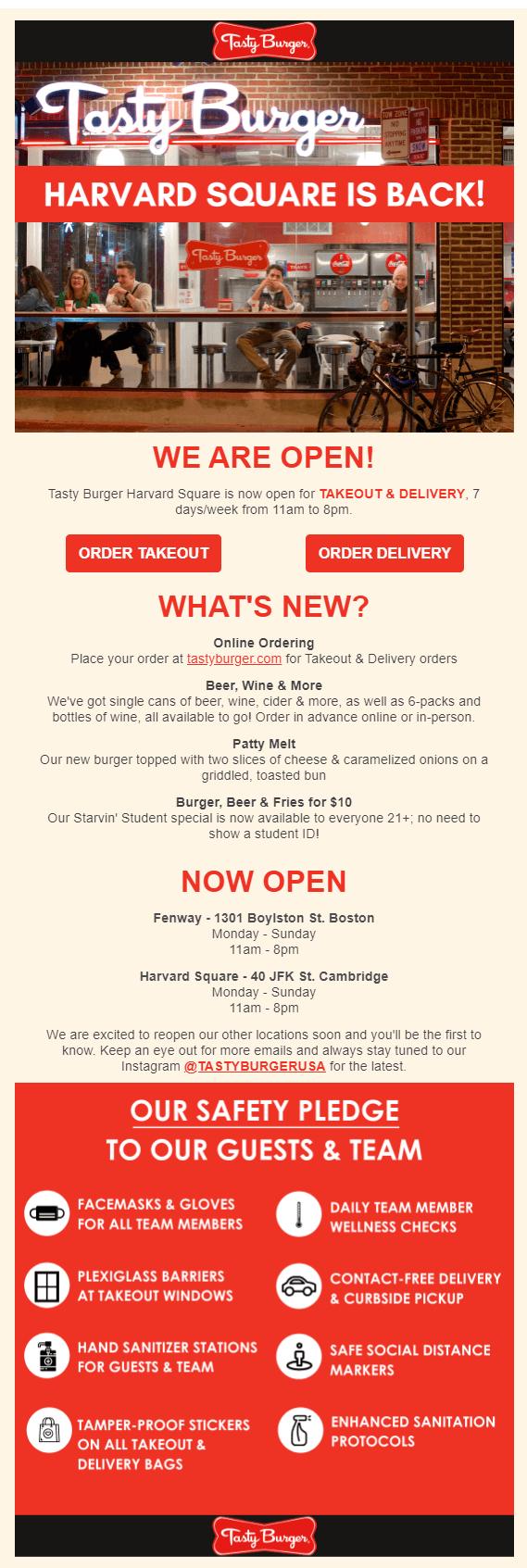 Email рассылка от Tasty Burger