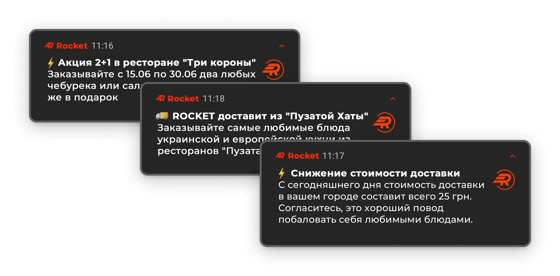 Пример отправляемых уведомлений