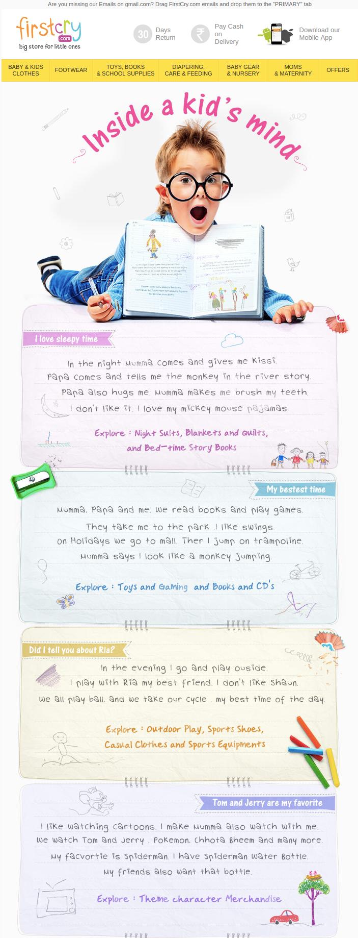 Мысли детишек в письмах FirstCry