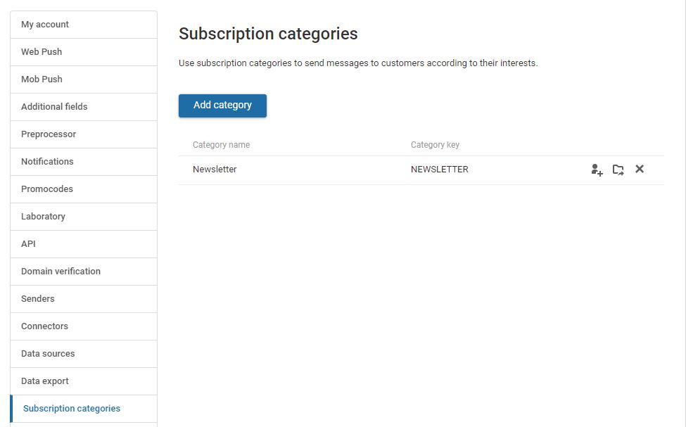Створення категорії підписки