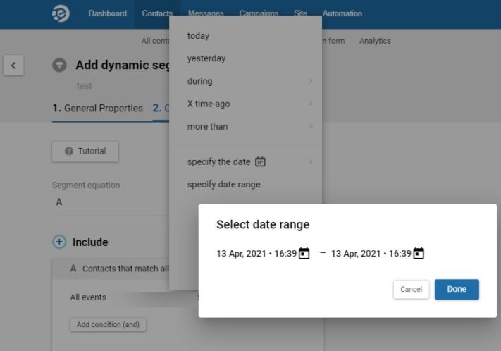 Date range for conditions by events