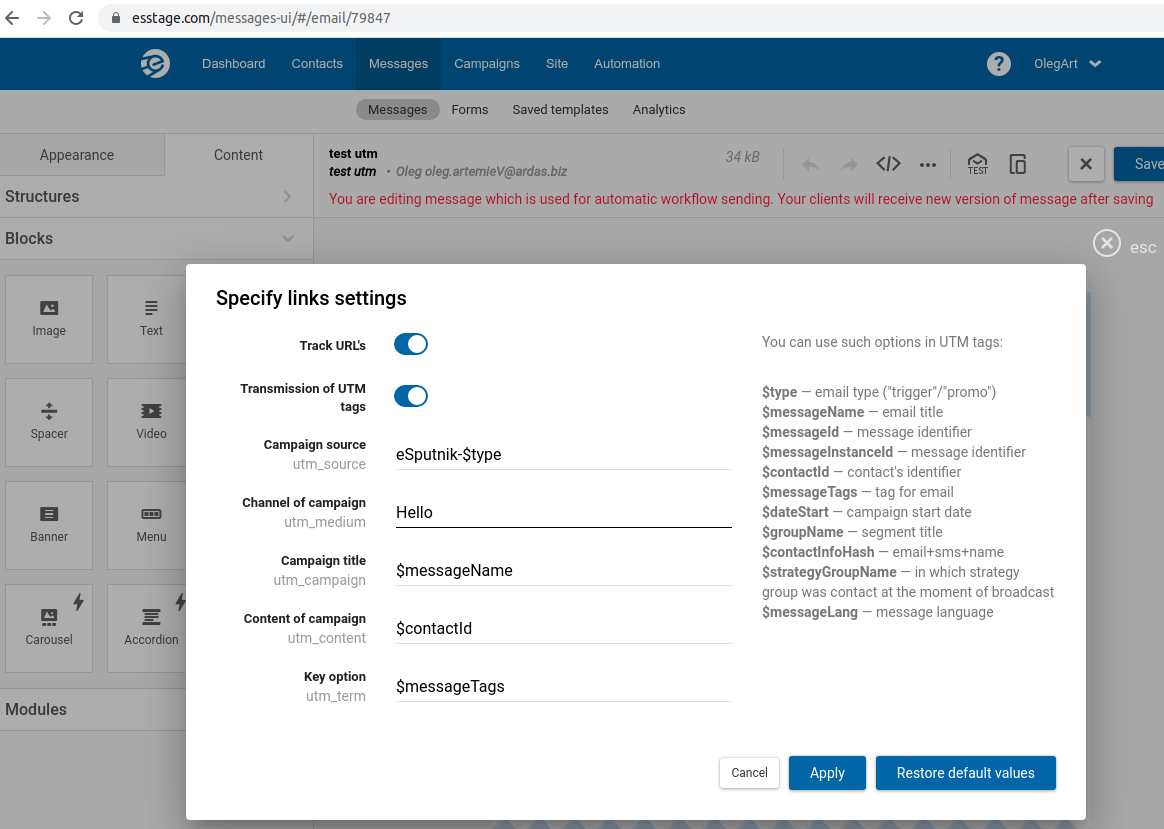 Specify links settings