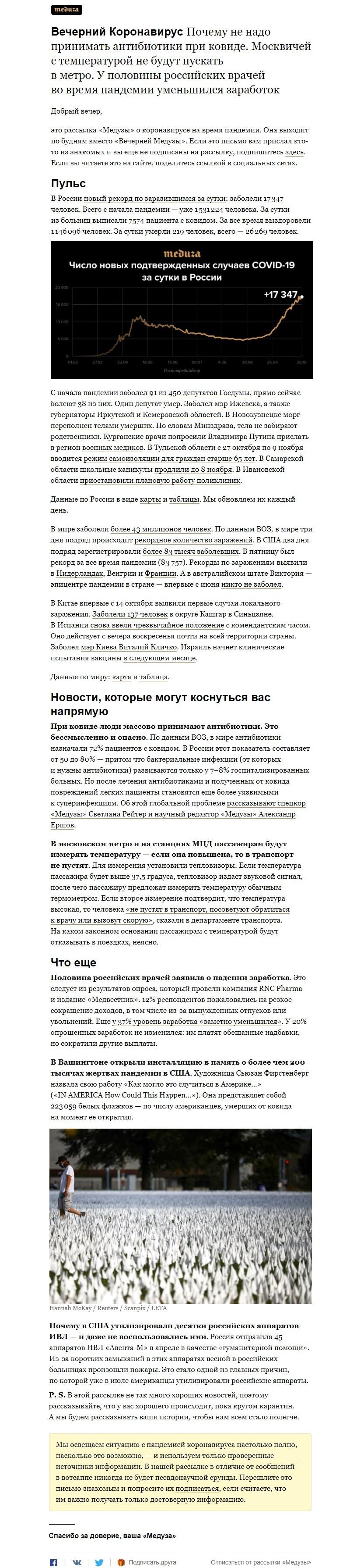 """Рассылка Медузы """"Вечерний Коронавирус"""""""